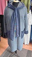 Полупальто с капюшоном серого цвета в синий горох