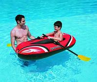 Надувная лодка с веслами, ПВХ, одноместная, 80кг