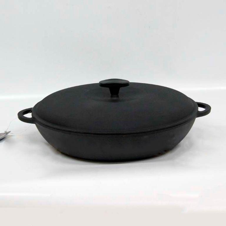 Сковорода чугунная (сотейник), d=240мм, h=60мм с чугунной крышкой