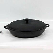 Сковорода чугунная (порционная), d=200мм, h=35мм с чугунной крышкой