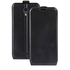 Чехол книжка для ZTE Blade L110 вертикальный флип, Гладкая кожа, черный