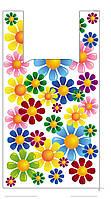 """Пакеты полиэтиленовые майка """" Цветы"""" 30*55 см  /уп.100шт"""