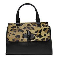 Женская  сумка из натуральной кожи фабричная (отшита  в Италии) черного цвета со вставкой меха
