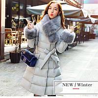 Женское пальто на пуху, с меховым воротником. Модель 62175