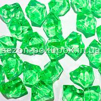 """(25шт) Кристаллы пластик 25х15мм (""""Искусственный лед"""") Цвет – ЯРКО ЗЕЛЕНЫЙ"""