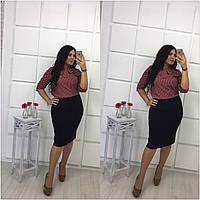 Бордовая блуза в горошек больших размеров