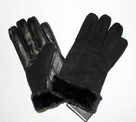 Перчатки с замшевой вставкой