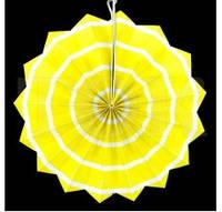 Бумажный веер 30 см желтый спираль