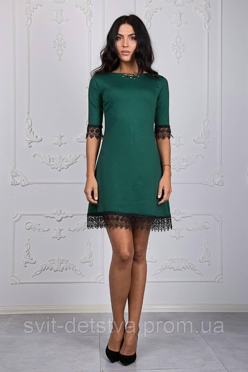 Жіноча сукня-трапеція з мереживом (зелена)  продажа 866699e724582