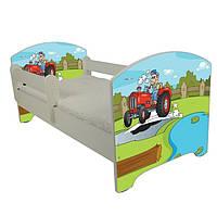 Детская кровать Oskar Цветной трактор 140 х 70 Baby Boo 100142