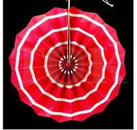 Веер бумажный 30 см розовый спираль