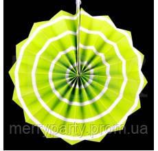 Веер бумажный 30 см салатовый спираль