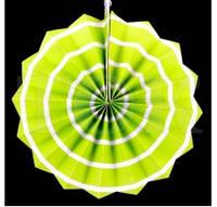40 см Веер бумажный салатовый спираль