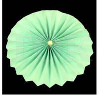 Веер бумажный 20 см мятный с жемчугом