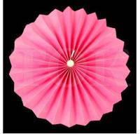 Веер бумажный 20 см розовый с жемчугом