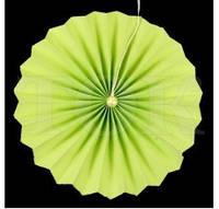 Веер бумажный 20 см салатовый с жемчугом
