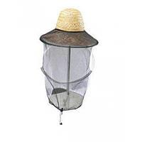 Защитная сетка для лица пчеловода в соломенной шляпе