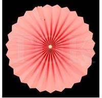 Веер бумажный 30 см нежно-розовый с жемчугом