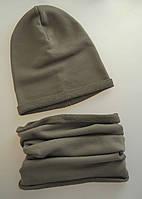 Комплект на ребеночка: шапочка бини со снудом. Хаки. ОГ 50-52, 52-54, 54-56 см