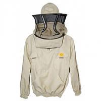 Куртка пчеловода с маской без молнии 100% Коттон. Размер XL / 52-54. Рост 178 - 193 см. Лысонь Польша  52 Бежевый