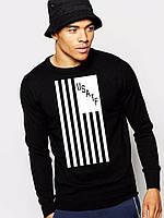 Спортивная кофта Nike, черный цвет, с белым крутым принтом, Л4065