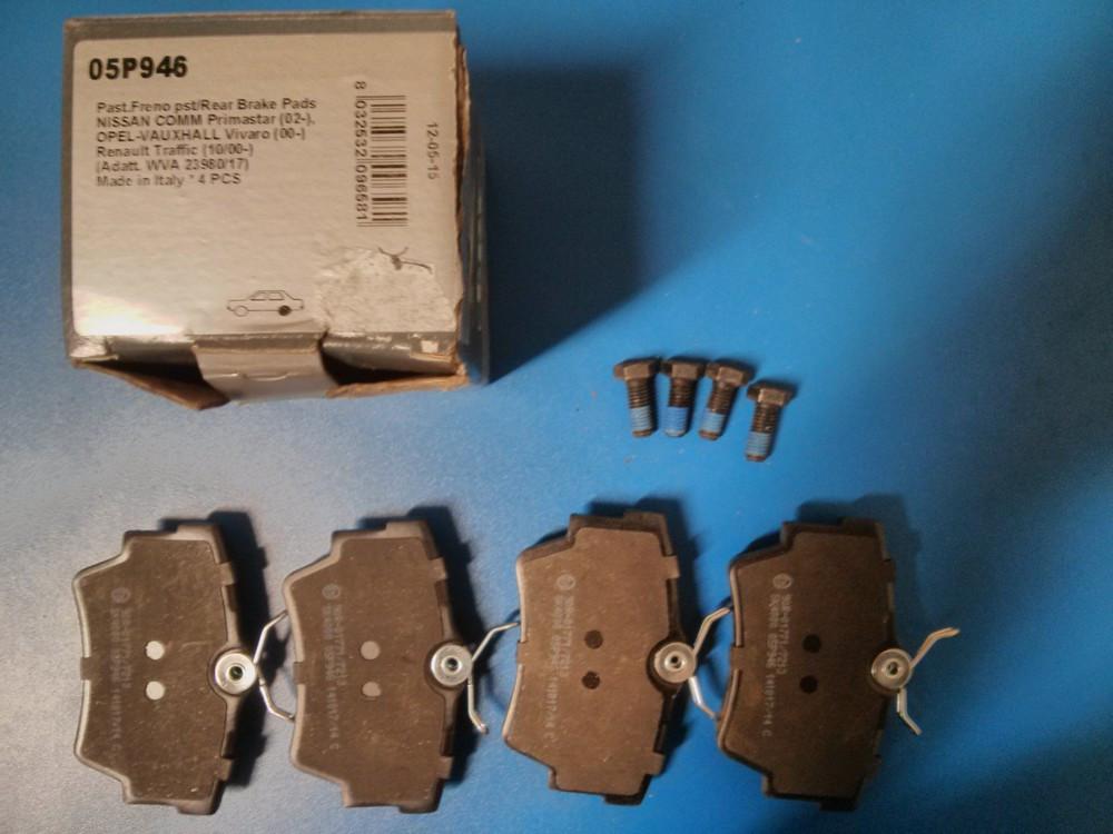 Тормозные колодки задние (комплект 4 шт.) Renault Trafic, Opel Vivaro 2001> Lpr 05P946 (новые)