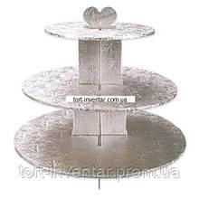 Baking Tools Стенд для маффинов 3 яруса серебро