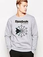 Спортивная кофта Reebok, серая , черный принт, Л4103
