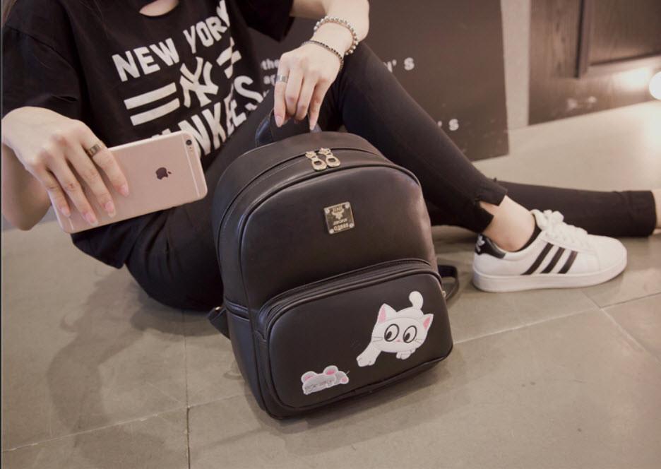 Милый городской рюкзак с котиком и мышкой