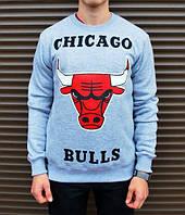 Спортивная кофта chicago bulls, серая с красным быком, Л4160