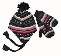 Набор шапка на флисе и варежки  для девочки