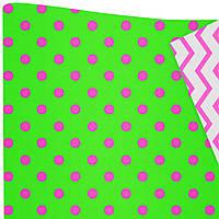 """Подарочная бумага """"Горохи"""" (516) розовые на зеленом"""