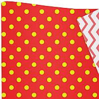 """Подарочная бумага """"Горохи"""" (517) желтые на красном"""