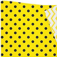 """Подарочная бумага """"Горохи"""" (519) черные на желтом"""