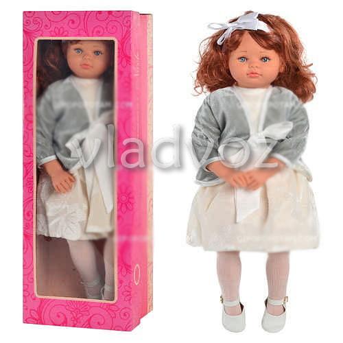 Кукла детская большая в голубом платье, Nikole 56 см в серой кофте