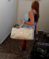 Сумка-саквояж Louis Vuitton LV  Monogram  Keepal white (реплика) дорожная/тренировочная