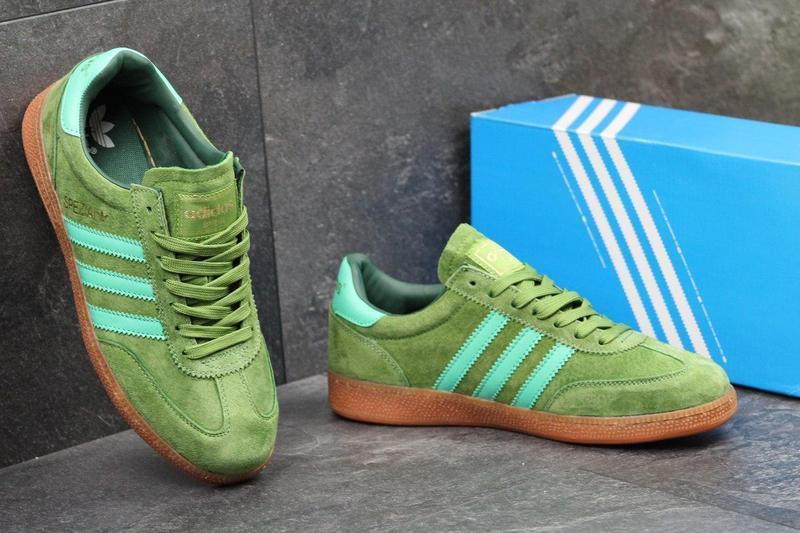 06259bc8c0b9cc ... Чоловічі замшеві кросівки Adidas Spezial світло-зелені , фото 4 ...