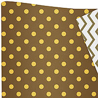"""Подарочная бумага """"Горохи"""" (522) желтые на коричневом"""