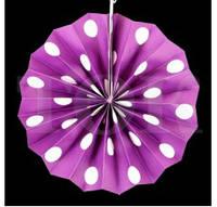 20 см Веер бумажный фиолетовый горох