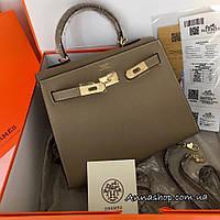Женская кожаная сумка Гермес Келли 28 см в бежевом цвете, Люкс копия
