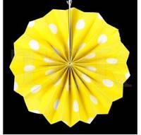 Веер бумажный 40 см желтый горох