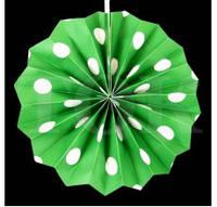 Веер бумажный 20 см зеленый горох