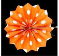 Веер бумажный 20 см оранжевый горох