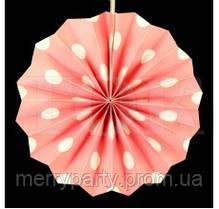 Веер бумажный 30 см нежно-розовый горох