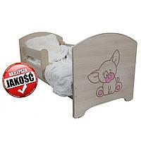 Детская кровать Oskar Гравированный розовый щенок 140 х 70 Baby Boo 100162