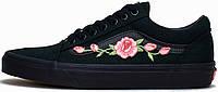 Мужские кеды Vans Old School Roses Black, Ванс Олд Скул
