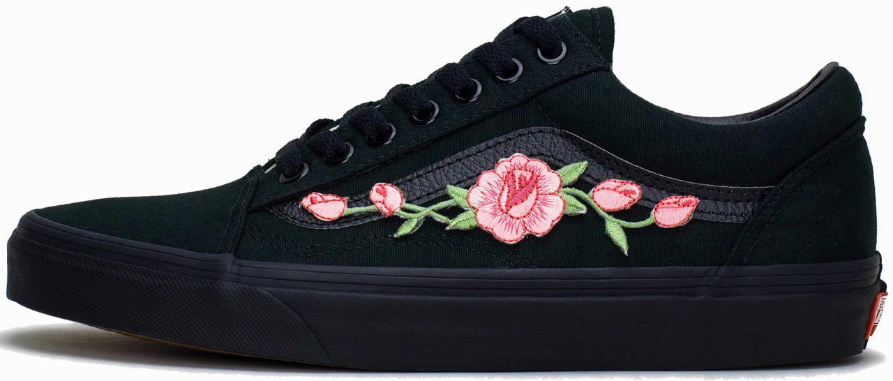 Женские кеды Vans Old School Roses Black