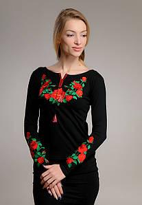 Лонгслив женский трикотажный с вышивкой Розы черный