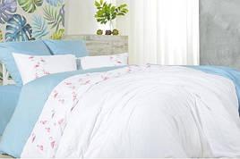 Комплект постельного белья с вышивкой Евро размера ИДЕЯ