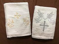 Махровое белое полотенце для крещения Ангелочки (золото+серебро)